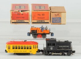 Lot Of 3: Lionel Trolley, Gang Car & Switcher.