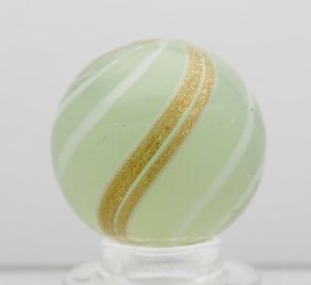 Opalescent White Banded Lutz Marble.