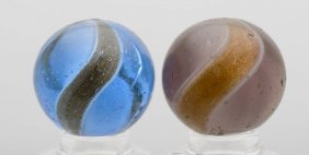 Lot Of 2: Ribbon Lutz Marbles.
