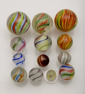 Lot Of 13: Handmade Marbles.