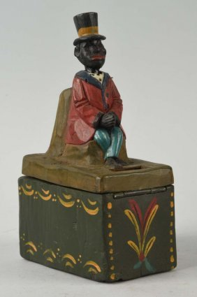 Alms Carved Folk Art Wooden Looking Bank Box.