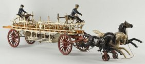 Cast Iron American Made Horse Drawn Fire Wagon.