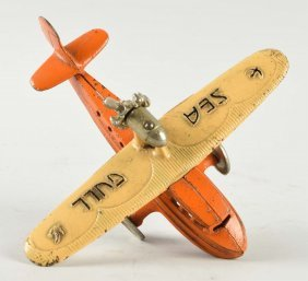 Cast Iron Kilgore Sea Gull Airplane Toy.