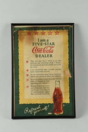 Coca-cola Dealer Cardboard Advertising Sign.