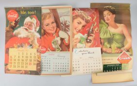 Lot Of 4: Coca-cola & Orange Crush Calendars.