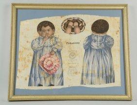 """pickaninny"" Black Americana Print Of Cloth Doll"