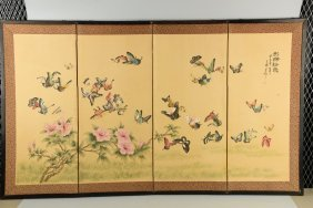 Lot Of 2: Japanese Screens With Butterflies.