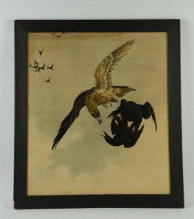 """two Birds With One Stone"" Silk Print."