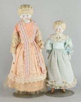 Lot Of 2: Blond Antique German China Head Dolls.