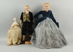 Lot Of 3: German Antique China Head Dolls.