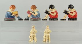 Lot Of 3: Pairs Of Cast Iron Children Bookends.