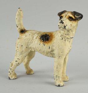 Cast Iron Fox Terrier Dog Doorstop.
