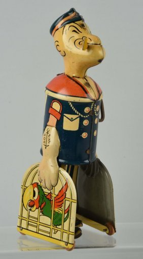 Marx Tin Litho Wind Up Popeye Parrot Cages Toy.