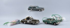 Lot Of 3: Japanese Tin Litho Battery Operated Cars