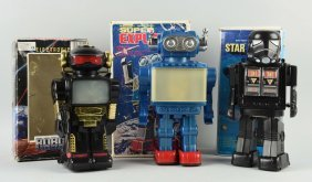 Lot Of 3: Battery Operated Space Robots In Boxes.
