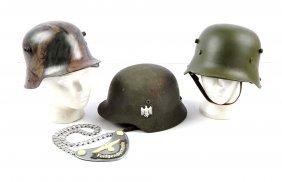 Lot Of 4: Replica Helmets & Gorget.