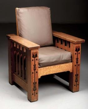 Rare Shop Of The Crafters Inlaid Morris Chair.