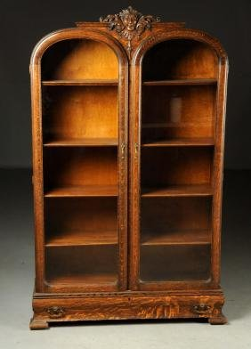 Late 19th Century Victorian Oak Bookcase With Carved