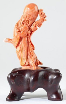 Chinese Red Coral God Of Longevity