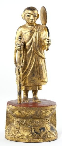 Burmese Carved Wooden Traveling Buddha