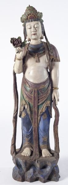 Guanyin Compassion, Carved Polychrome Large Figure