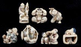 Group Of Seven Japanese Ivory Netsuke