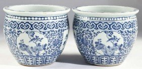 Pair Of Chinese Blue And White Jardinieres