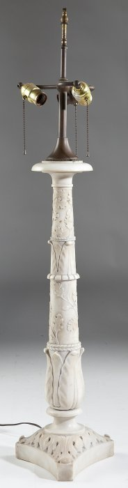 Carved Carrara Marble Table Lamp