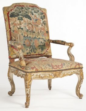 Italian Painted And Carved Open Arm Chair