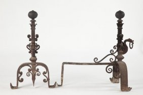 Pair Of Italian Baroque Style Andirons