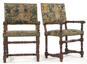 Pair Of Italian Renaissance Open Arm Chairs