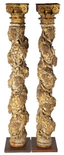 Pair Of Rare Neapolitan Carved And Gilded Columns
