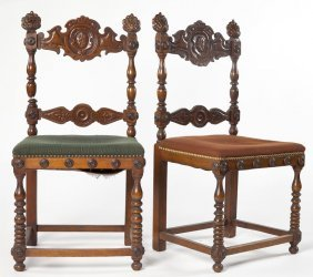 Two Spanish Style Carved Side Chairs