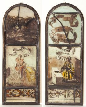 Pair Of German Stained Glass Panels