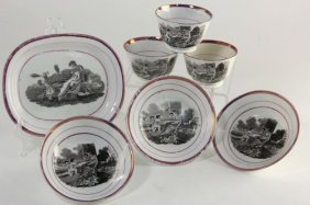 Seven Pieces Of Pink Luster Ware