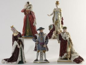 Five Antique Continental Porcelain Figurines