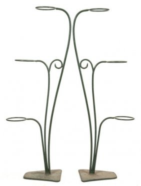 Pair Of Wrought Iron Flower Pot Holders