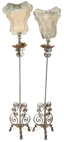 Pair Of Chinese Wrought Iron Garden Lamps