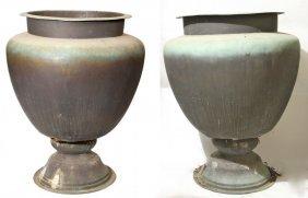 Pair Of Large Copper Garden Urns