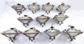 (11) Sentry House Glass Hanging Light Fixtures