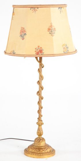 Cast Brass Louis XVI Style Candlestick Lamp
