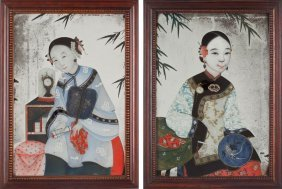 Pair Of Chinese Reverse Paintings On Mirror Glass