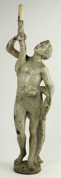 Antique Classical Figure Cast Iron Light Fixture