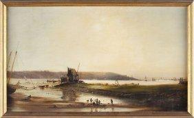 Flemish School Harbor Scene, 19th Century