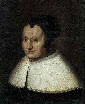 Dutch 17th Century Portrait Of  Woman Oil Painting