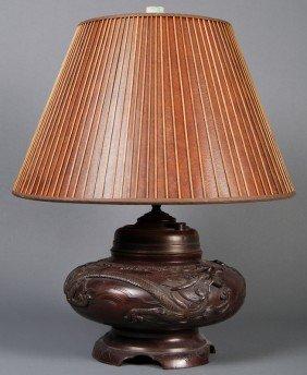 "Japanese Antique Bronze 19C Dragon Branch 22"" Lamp"