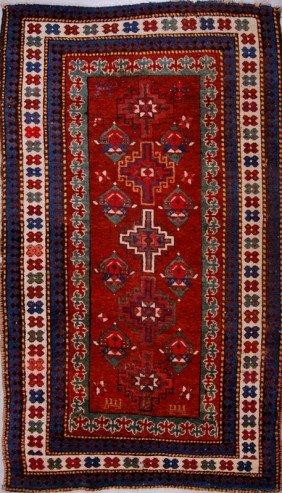Caucasian Oriental Rug -Barber Pole Border 7' X  4'