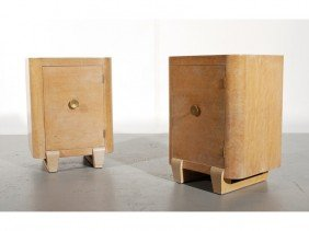 Pair Of 1930s Art Deco Birdseye Side Table Cabinets