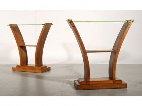 Pair Of Art Deco 1930s French Glass Top Side Tables