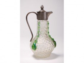 Kralik Art Deco Iridescent Glass Syrup Pitcher